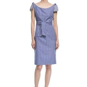 Milly Candice Striped Shirting Tie Dress sz 10